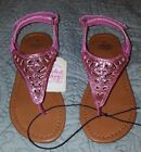 NEW Faded Glory Toddler Girls Cutout Thong Sandal Velcro size 10 Pink C10
