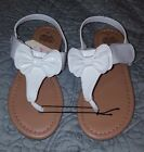 NEW Faded Glory Toddler Girls Thong Sandal Velcro with Bow size 10 White C11