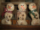 Primitive Trio Grungy Winter Snowmen Snowman Christmas Frosty Bowl Filler Ornies