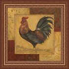 FRAMED Loire Matin II Country Rooster by Pamela Gladding 12x12 Print Pecan Frame