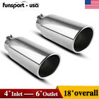 4inch Inlet 8 Outlet 15 Long Diesel Exhaust Tip Stainless Steel Bolt On Black