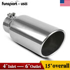 4 Inlet 6 Outlet 15inch Long Chrome Stainless Steel Bolt On Diesel Exhaust Tip