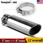 3 Inlet 4 Outlet 12inch Long Chrome Stainless Steel Bolt On Diesel Exhaust Tip