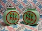 Jadeite Green Glass Round 3 Tulip Salt and Pepper Shakers in Excellent Condition