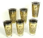 6x 60's PRUDENTIAL INSURANCE LIBBEY BLACK GOLD ICED TEA TUMBLERS GLASSES ~6.5