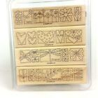 Set of 4 Stampin Up A LITTLE BIT OF HAPPINESS Wood Block Rubber Stamps