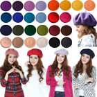 White Womens Winter French Berets Beanies Fashion Wool Felt Accessories