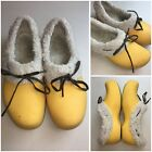 CROCS Womens Sz 10 Gretel Faux Fur Lined Clogs Yellow  QQ