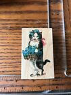 All Night Media Wood Mount Rubber Stamp Forget me not cat 925f basket flowers