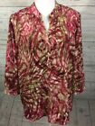 Chicos Size 3 Womens XL Pink Green Abstract Print Popover Tunic Blouse Polyester