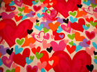 Valentines Day Fabric By The Yard Red Pink Blue Purple Green Hearts Cotton 29