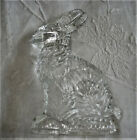 Vtg Heavy Pressed Glass Candy Container Beautiful Detailed Bunny w Flowers