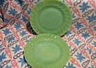 Vintage Anchor Hocking Jadeite Shell Salad Plates x 2 in Excellent Condition