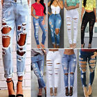Womens Denim Skinny Ripped Pants High Waist Stretchy Jeans Slim Pencil Trousers
