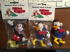 Vtg 3 Wonderful World Disney Christmas Ornaments Mickey Mouse Donald Duck NOS