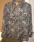 Ruby Rd Black Red Silver Sheer Button Down Blouse Multi Patterns Size 8 EUC