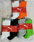 Boys youth kids Puma Crew socks 4 pack sock size 9 11 arch support