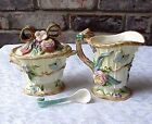 Vintage Fitz and Floyd Creamer and Sugar W Spoon Woodland Spring Flowers