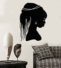 Vinyl Wall Decal African Girl Head Hairstyle Native Black Woman Stickers 2071ig