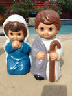 Vintage Child Empire Illuminated Blow Mold Nativity Mary  Joseph Christmas