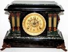 ANTIQUE RUNNING STUNNING SETH THOMAS ADAMANTINE MANTEL CLOCK W CELLUOID PILLARS