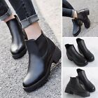 Womens Synthetic leather Chelsea Ankle Boots Chunky Block Heel Round Toe Shoes