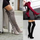 New Womens Ladies Over Knee High Heel Boots Winter Slip on Leisure Lace up Shoes