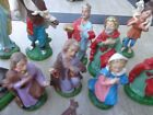Vintage Paper Mache35 4 Scale Nativity 21 Figures Animals Stable Sets Italy