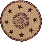 New Primitive Rustic BURGUNDY STAR Jute Braided Doily Trivet Table Candle Mat