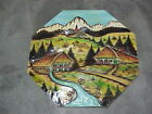 Vintage pine wood carved panel Alpine village Black Forest planks 22
