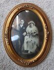 Early Gesso Wood Gold Gilt Dome Glass Picture Frame Convex Marriage Portrait