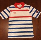 Umbro Mens Soccer Performance Fit Shirt Jersey Small Adult Red White Blue Stripe