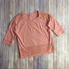 By Chicos Womens Crochet Trim Top Blouse 3 4 Sleeves Rose Pink Cotton Size 2 EUC