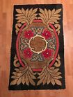 antique American quality Art Deco wool hand made hooked rug 30