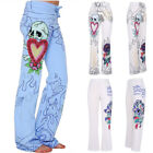 US SALE Women SKULL ROSE Palazzo Pants Casual Flare Wide Leg Harem Trousers 5XL