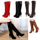 Getmorebeauty Brand Women Suede Buckle Lace Up Zipped Knee High Boots High Heels