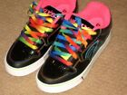 HEELYS Girls RAINBOW LACE Black Cyclone WHEELED Sneaker SHOES sz Youth 6 NEW