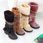 Fashion Womens Boots Winter Warm Snow Boots Thicken Fur Scrub Suede Flats Shoes