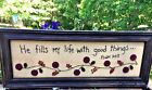 Antique Primitive FRAMED ART PSALMS He Fills My Life With Good Things Penny Rug