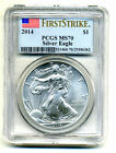 2014 FLAG American Eagle PCGS MS70 Silver Dollar Ounce 1ST STRIKE Bullion Coin