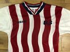 Vtg 90s 1994 US Soccer Adidas Jersey Size M Wavy Red White Rare USA Made