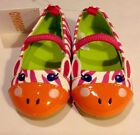 NWT GYMBOREE Toddler Girl Pink Orange Shoes Zebra Print Animal Face SZ 04 3495