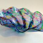 Tom Philabaum Studio Art Glass Centerpiece Bowl Rainbow Swirl Reptillian Signed