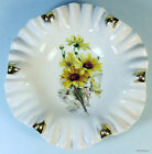 Mitterteich Susan Daisy Yellow Flower Gold Fluted Dish Bavaria Germany Vintage