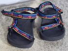 TEVA toddler sandals size 8 blue black and red with cars