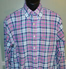 Brooks Brothers Mens L S Button Front Casual Shirt 346 Medium Pink Multi Plaid