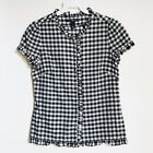 NWOT GAP White Checkered Ruffle Short Sleeve Button Down Cotton Top Size XS