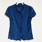 NWOT GAP Blue Checkered Ruffle Short Sleeve Button Down Cotton Top Size XS