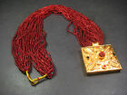 N5066 Gold Plated Box Ghau Red color Glass Beaded Pote Necklace Jewelry Nepal