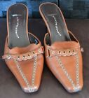 Cloudwalkers Fancy sz 9 W brown leather mules stitched buckle heel